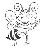 Black and white Bee Cartoon — Stock Vector