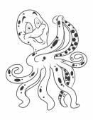 Octopus Cartoon Illustration — Stock Vector