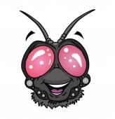 Fly insect head Cartoon — Stock Vector