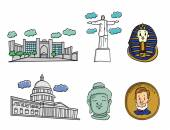 Amazing Buildings emblems — Stock Vector