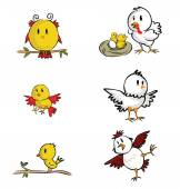Chicken and Yellow bird — Stockvektor