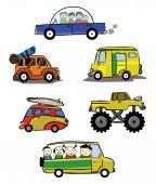 Hand Drawn Illustration of car collection — 图库矢量图片