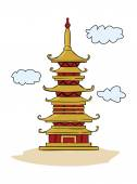 Chinese Temple Pagoda — Stock Vector