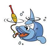 Fishing Fish — Stock Vector