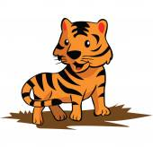 Cute Tiger Cartoon — Stock Vector
