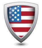 Vector illustration of patriot shield : Attention concept. — Stock Vector