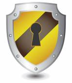 Vector illustration of Yellow black lock shield : Security concept. — Stock Vector