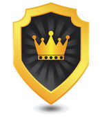 Vector illustration of Golden luxury crown shield : Crown concept. — Stock Vector
