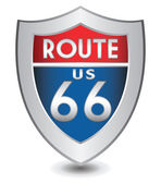 Vector illustration of Route Us 66 shield — Stock Vector