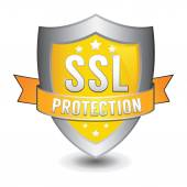 Ssl protection yellow shield — Stock Vector