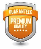 Orange shield Guaranteed Premium Quality — Stock Vector