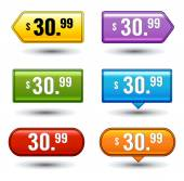 Glossy button price tags — Stock Vector