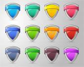 Full color glossy Shield Collection — Vector de stock