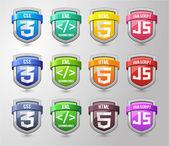 Full colours Shield Collection — Vetor de Stock