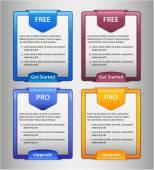 Pro upgrade, Free start list — Stock Vector
