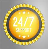 24, 7 support button — Stock Vector