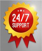 24, 7 support label — Stock Vector