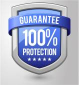 100 percent protection blue shield. — Stock Vector
