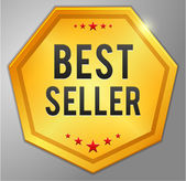Beste verkoper gouden badge — Stockvector