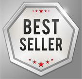 Best seller silver badge — Stock Vector