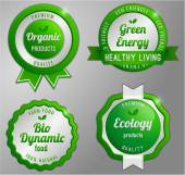 Organic product green badge collection — Stock Vector