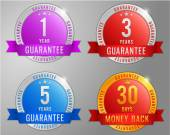 Guarantee, money back labels set — Stock Vector