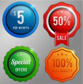Sale, shopping offer labels set — Stock Vector