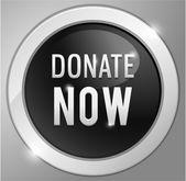 Donate now button, sign — Stock Vector
