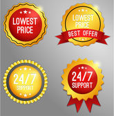 Lowest price, customer support badge — Stock Vector
