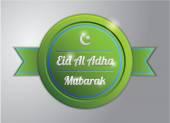 Grüne Eid al-Adha-Abzeichen — Stockvektor