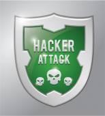 Hacker attack shield — Stock Vector