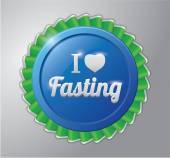 Ramadhan kareem badge : I love fasting — Stock Vector