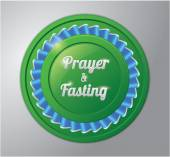 Ramadhan kareem badge : prayer and fasting — Stock Vector