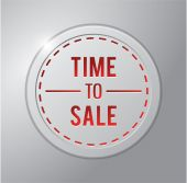 Time to sale button — Stock Vector