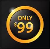 Only 99$ golden badge — Stock Vector