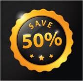 Save 50% golden badge — Stock Vector