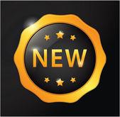 New golden badge — Stock Vector