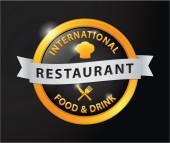 Restaurant international food and drink golden badge — Stock Vector