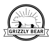 Grizzly bear : Bear label — Stock Vector