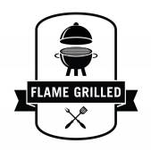 Flame grilled : Seafood and grill label — Stock Vector