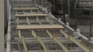 Waffles. Manufacture of wafers. Сonveyor line — Stockvideo