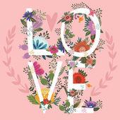 Love writing flowery shape — Stock Vector
