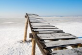 Frozen old jetty — Stock Photo