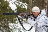 Hunter na Zimowych polowań — Zdjęcie stockowe