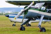 Two airplanes on the airfield — Stock Photo