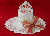 Retro Christmas Lantern with a Large Bow — Foto Stock