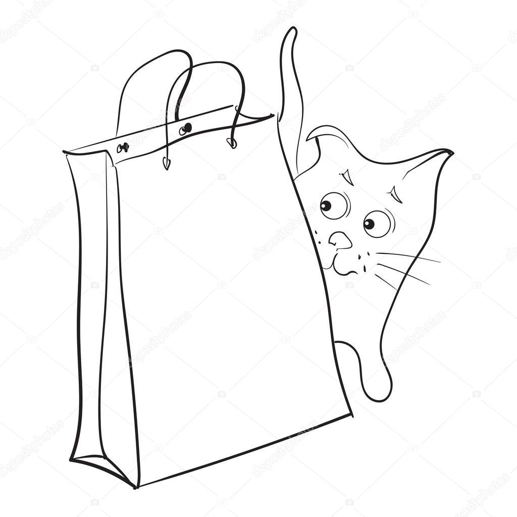 Paper bag vector - Cat With A Paper Bag Vector Vector By Asha_tan