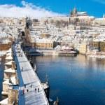 Prague castle and Charles bridge, Prague (UNESCO), Czech republi — Stock Photo #58423677