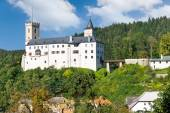 Historical town and medieval gothic castle Rozmberk nad Vltavou, South Bohemia, Czech republic, Europe — Stock Photo