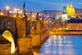 Charles bridge, Moldau river, Lesser town, Prague castle, Prague — Stock Photo